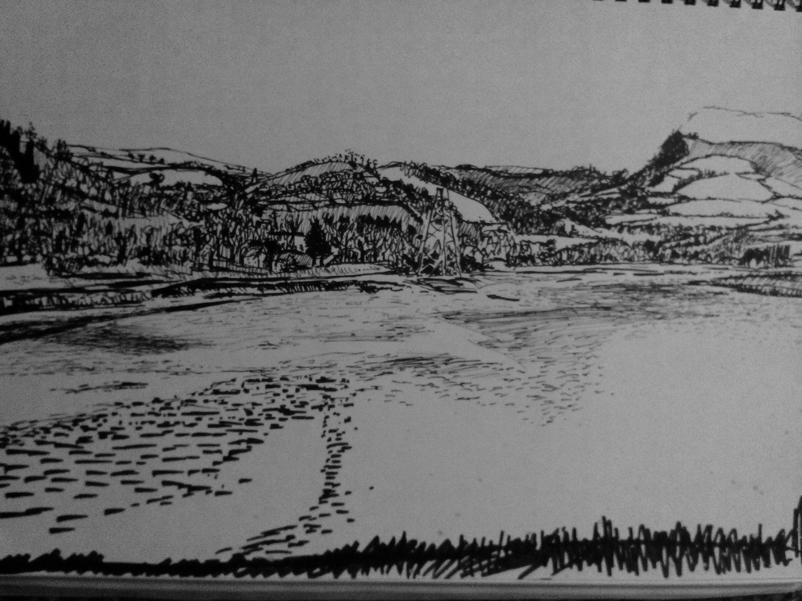 Sketch big hills small gateways